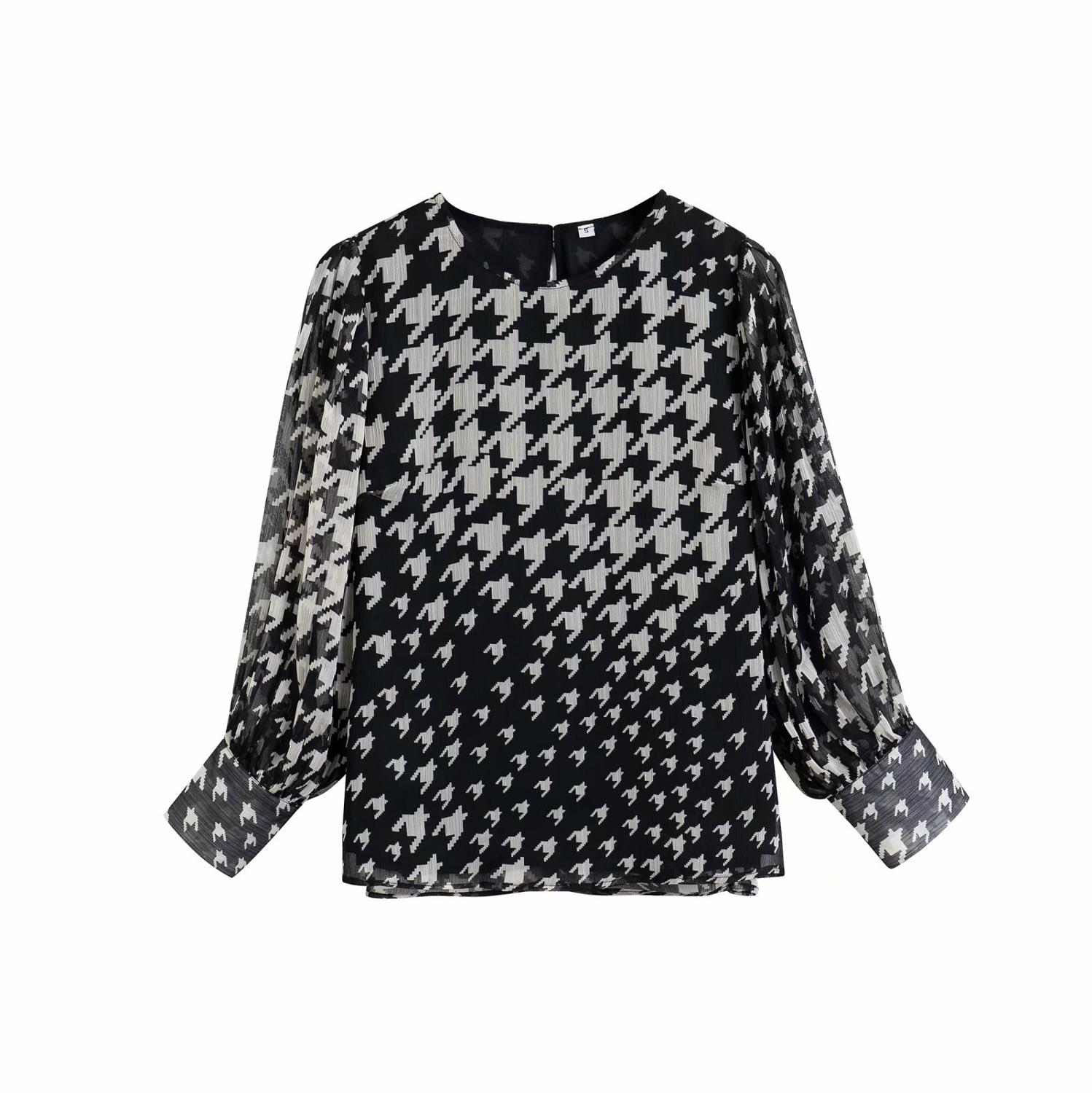 New Women Vintage O Neck Houndstooth Print Casual Smock Shirts Blouses Women Chic Pullover Roupas Femininas Chemise Tops LS6469
