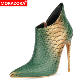 MORAZORA 2020 new arrive autumn winter boots women sexy high heels zip party wedding shoes pointed toe ankle boots for women