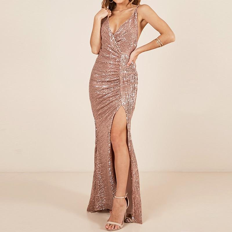 V Neck Sequined Maxi Dress Split Leg Pleated Backless Sleeveless Party Dress