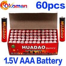 60 pçs de carbono seco pilas aaa 1.5v bateria, r03 r3c para câmera calculadora despertador despertador controle remoto um4