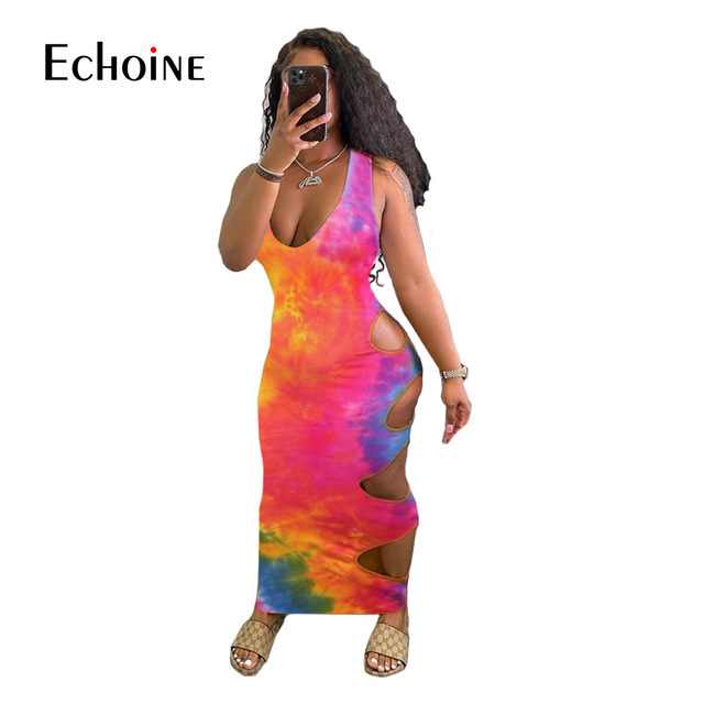 Echoine Women Summer Tie Dye Print Hole Maxi Dress V-neck Sleeveless Cut Out Bandage Sexy Night Party  Bodycon Long Dresses 2