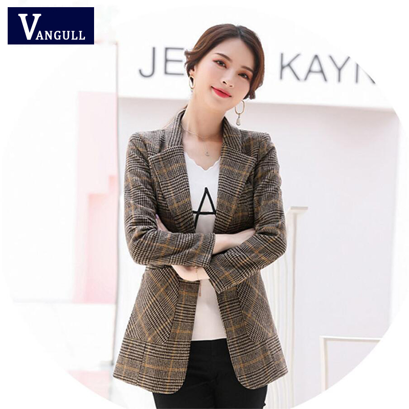 Vangull Plaid Women Blazers Turn-Down Collar Long Sleeve Slim Short Suit Business Office Clothes 2019 Autumn New Fashion Blazer