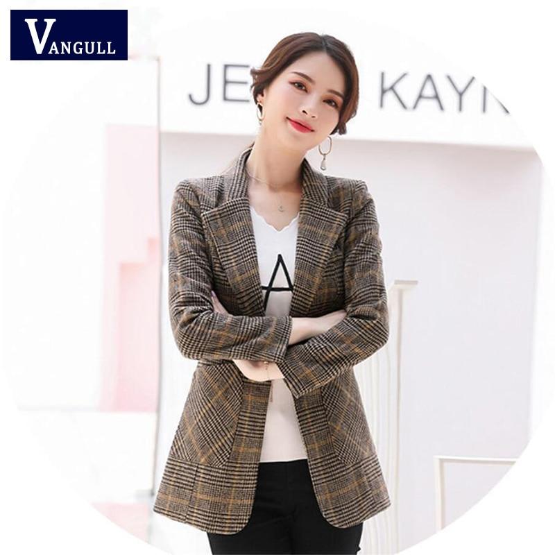 Vangull Plaid Women Blazers Turn-Down Collar Long Sleeve Slim Short Suit Business Office Clothes 2019 Autumn New Fashion Blazer