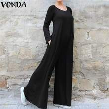 VONDA Wide Leg Pants Women Bohemian Solid Playsuits Long Sleeve Plus Size Oversall Casual Loose Romp