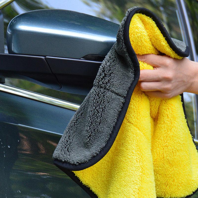 Toalla de microfibra para lavado de coches, toalla de secado de felpa para coches, toalla para el coche, toalla de poliéster de peluche, paño de limpieza de coche, esponjas, cepillos