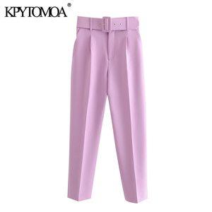 KPYTOMOA женские 2020 шикарные модные брюки с высокой талией с поясом винтажные на молнии с карманами для летающих в офисе одежда женские брюки до...