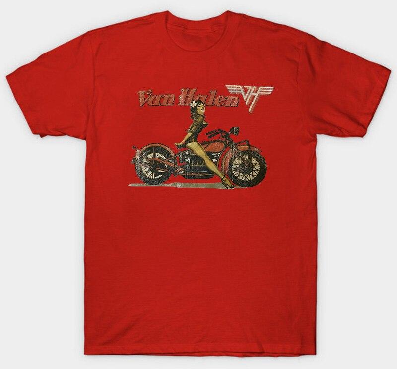 Van Halen Biker Pinup Tan T-Shirt Men/'s Officially Licensed Band Tee s-XL