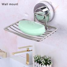 Stainless Soap Rack Wall Holder Steel Tray Vacuum Suction Cup Bathroom Rack Soap Container Shower Storage цена 2017