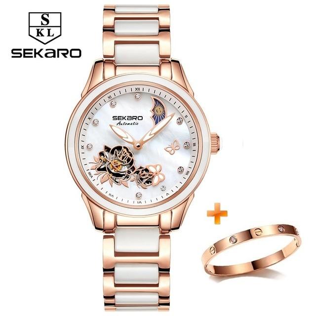 Sekaro 2020 Ceramic Women Watch Butterfly Design Ladies Mechanical Automatic Watches Luxury Brand Sapphire Crystal Women's Watch