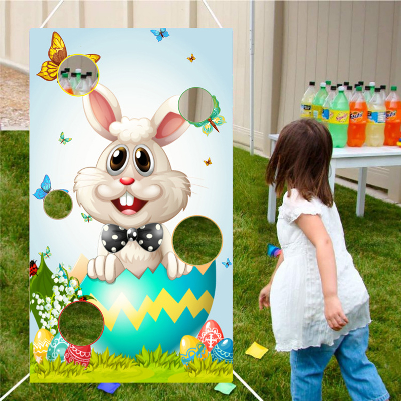 Easter Toss Game Funny Bunny Egg Toss Game Indoor Outdoor Party Games for Kids Adults Family School Spring Easter Party Supplies