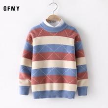 цена на GFMY 2019 Autumn Winter  Fashion Striped Water velvet O-Collar Boy Sweater 4-12 Year Old Baby Warm Coat Kids Sweaters