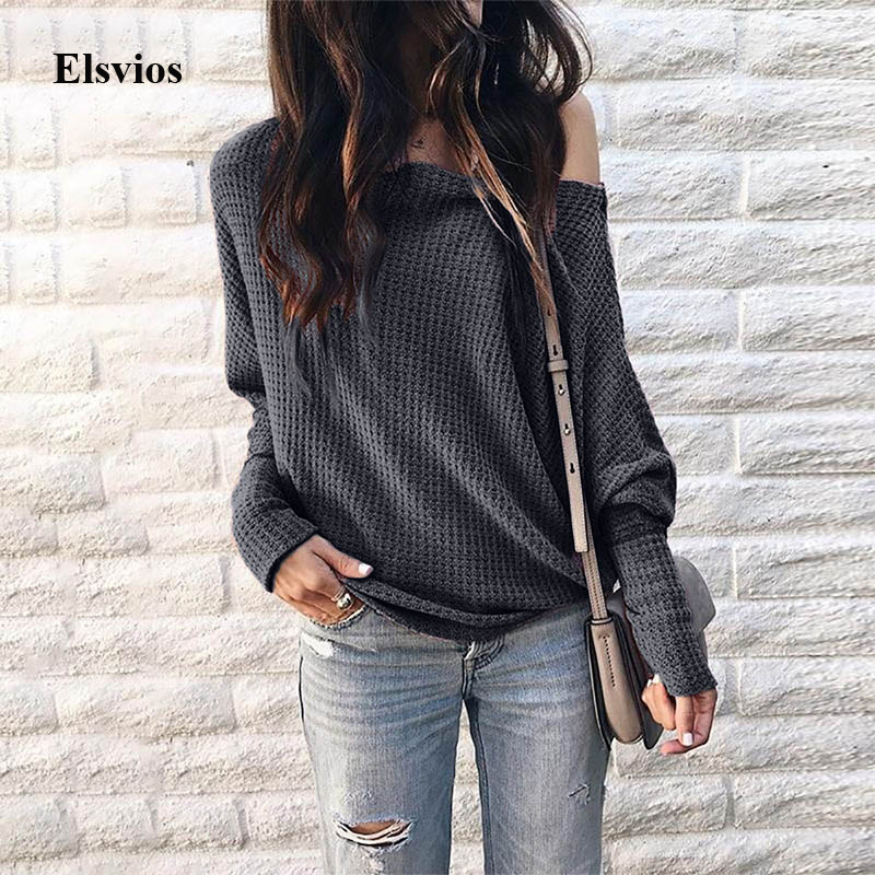 Elsvios Women Sexy Off Shoulder Knitted Sweater Elegant Batwing Long Sleeve Pullovers Autumn Solid Slash Neck Sweaters Tops