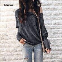 Elsvios Women Sexy Off Shoulder Knitted Sweater Elegant Batw