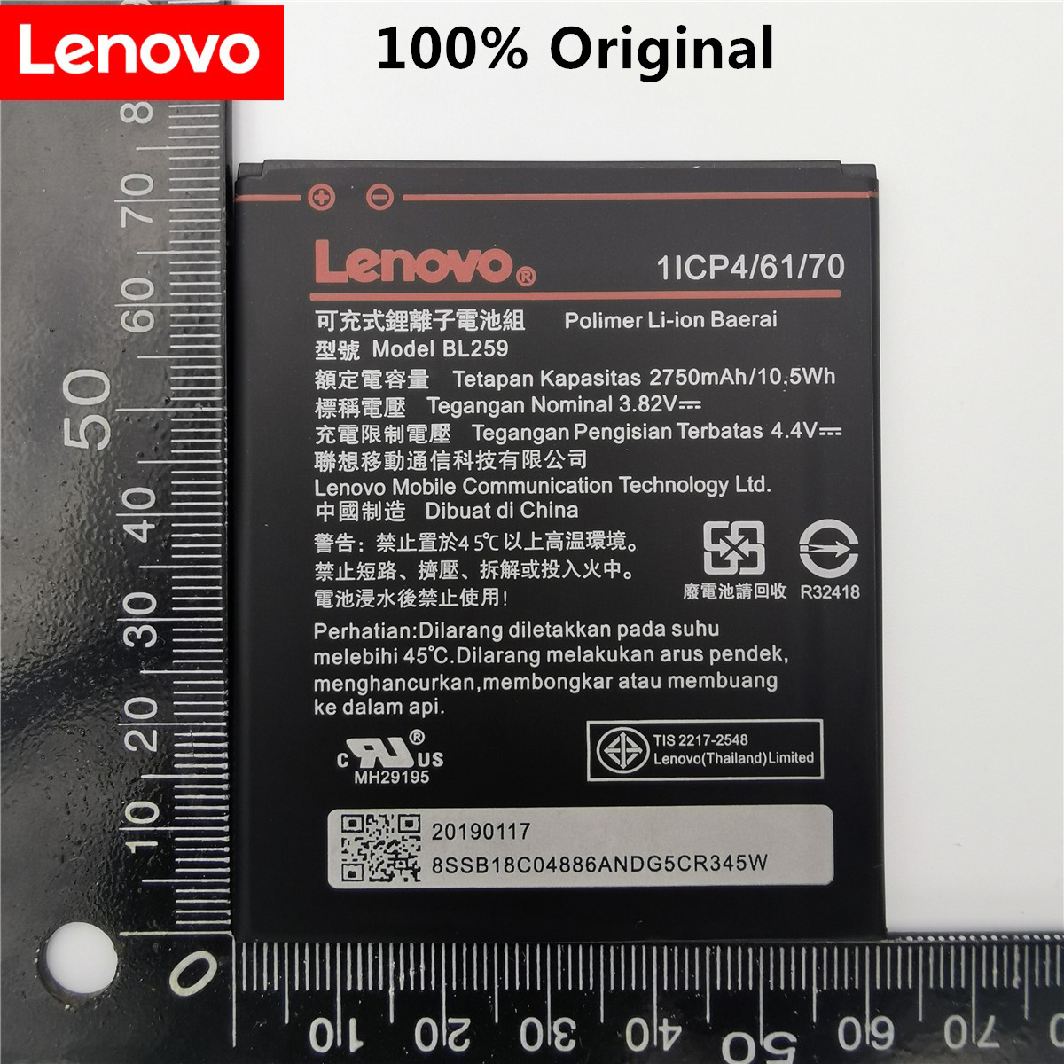100% Original Tested 2750mAh BL259 For Lenovo Lemon 3 3S K32C30 K32c36 Vibe K5 / K5 Plus / A6020a40 A6020 A40 A 6020a40 Battery
