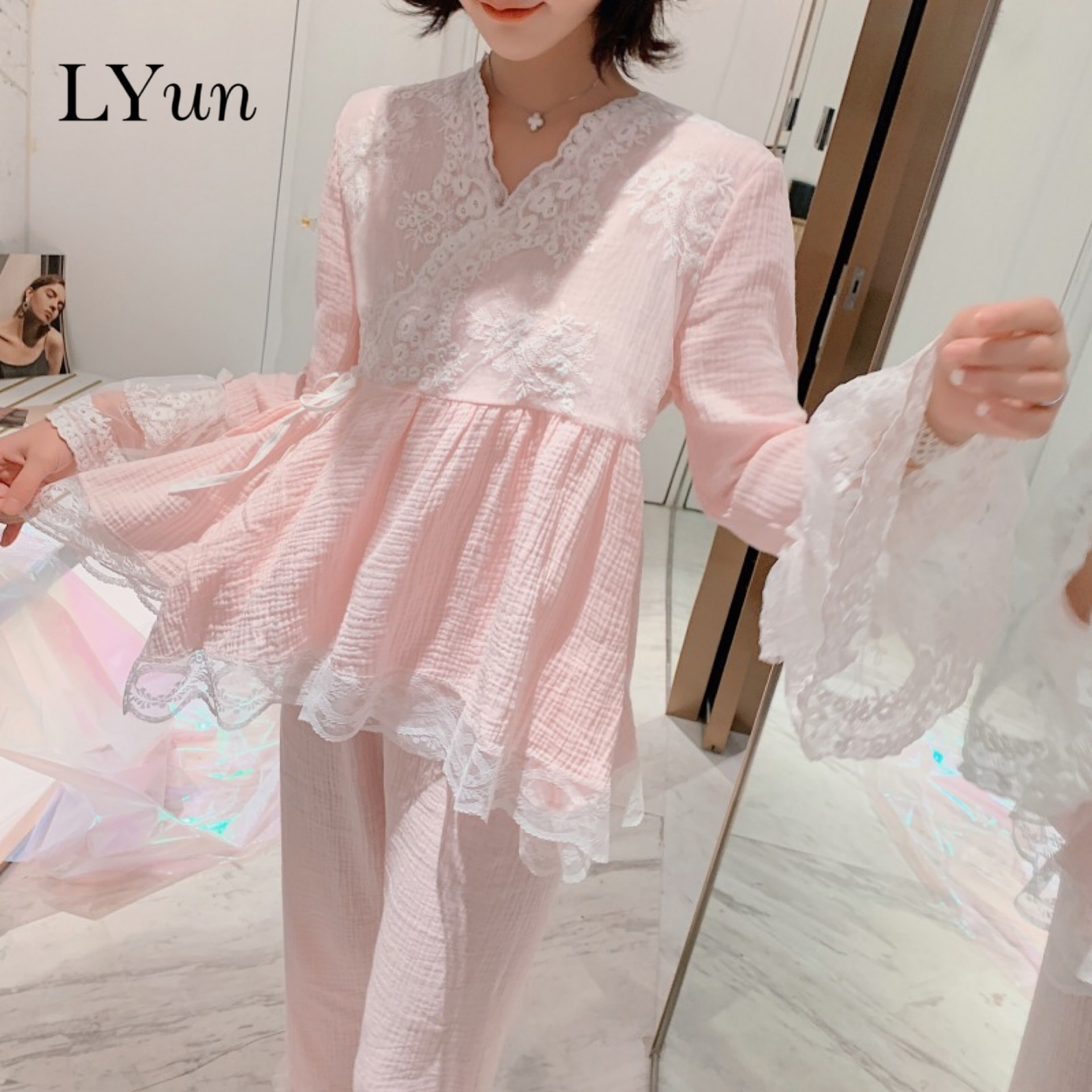 LY Spring And Autumn New Korean Version Of Cotton Gauze Women's Court Pajamas Set Cute Chinese Style Plus Size Home Service