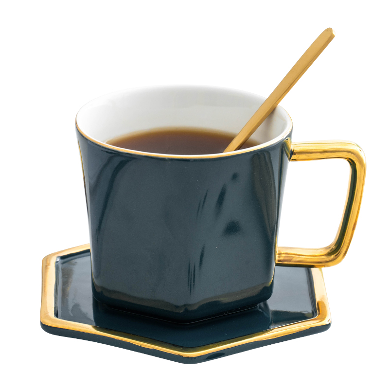 Luxury Ceramic Coffee Cup and Saucer Chinese Reusable Bamboo Cup and Saucer Tea Esspresso Juego De Tazas Cafe Bar Supplies OO5BD