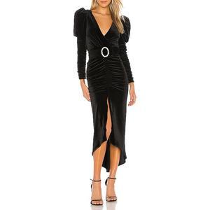 Womens Velvet Pleated Wrap Tie Waist Elegant Flowy Midi Dresses