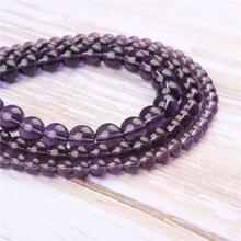 Wholesale Purple Glass Natural Stone Beads Round Beads Loose Beads For Making Diy Bracelet Necklace 4/6/8/10/12MM