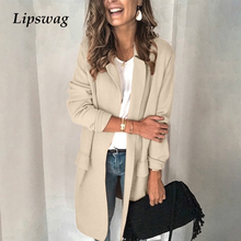 Autumn Long Sleeve Patch Pocket Coat Women 3XL Casual Turn-Down Collar Jacket Ov