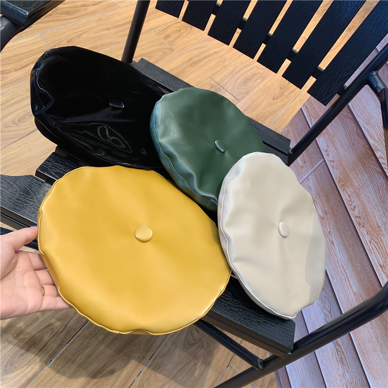 Autumn Winter Bright PU Berets England Women Vintage Hats Solid Fashion Street All Match Caps Painter Hat Girl Gift 56-58 cm