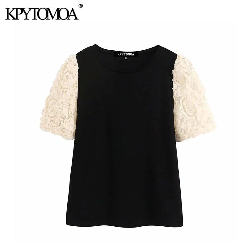 KPYTOMOA Women 2020 Vintage Fashion Lace Patchwork Knitted Blouses O Neck Short Sleeve Female Shirts Blusas Chic Tops