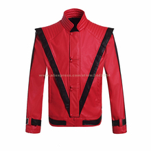 MJ Майкл Джексон куртка Триллер красный ретро кожаное пальто MTV коллекция пиджаки вечерние Косплей имитация реквизит#04CLSD02