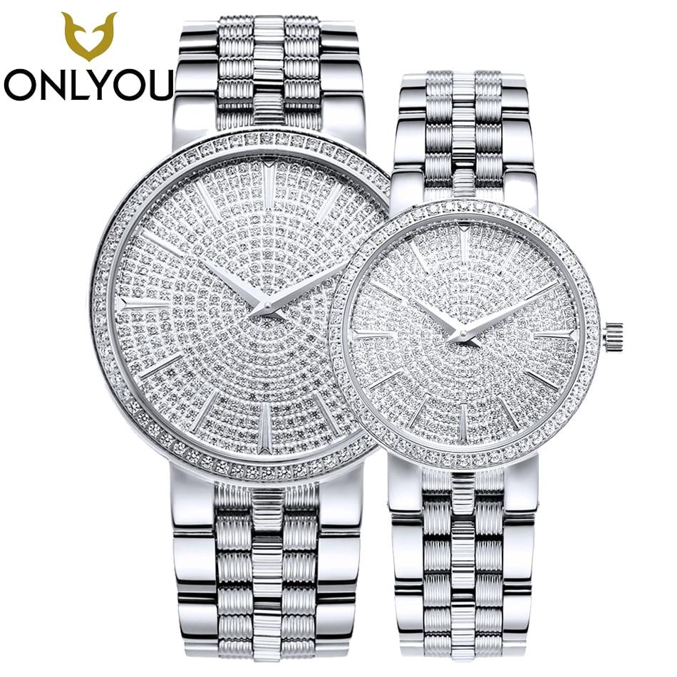 ONLYOU Women Watches Ultra Thin Steel Full Steel Sapphire Quartz Lovers Wrist Watch Rhinestones Montre Femme Clock 6960