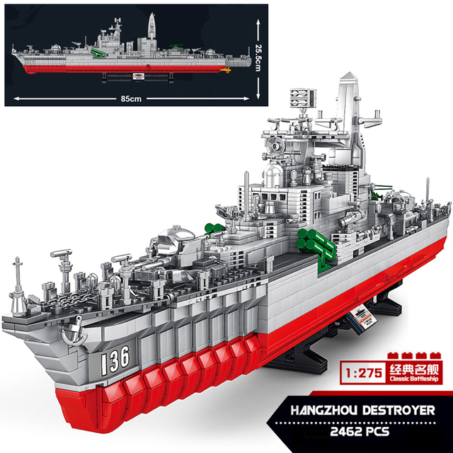 2462pcs High-Tech Navy Battle Ship Aircrafted Carrier Military Submarine Naval Destroyer Warship Model Building Blocks Kids Toys 1