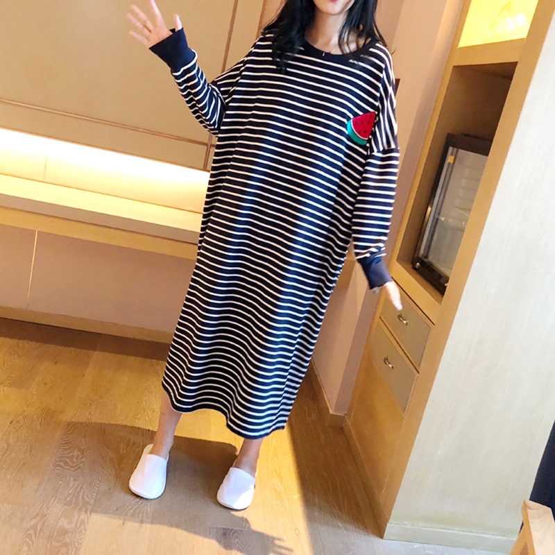 Nightgown Women's Autumn And Winter Long Sleeve Deep Blue Stripes Fruit Skirt M-XXL 6 PCs Color
