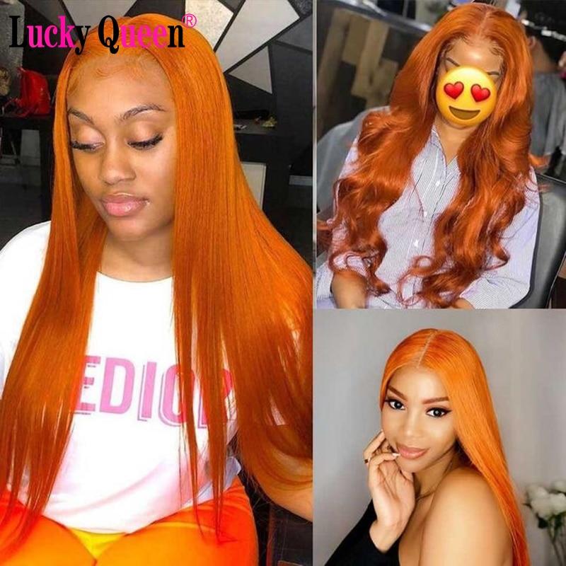 Парики на прозрачной сетке Lucky Queen, бразильские прямые человеческие волосы, парики с запахом апельсинового имбиря, предварительно выщипанны...