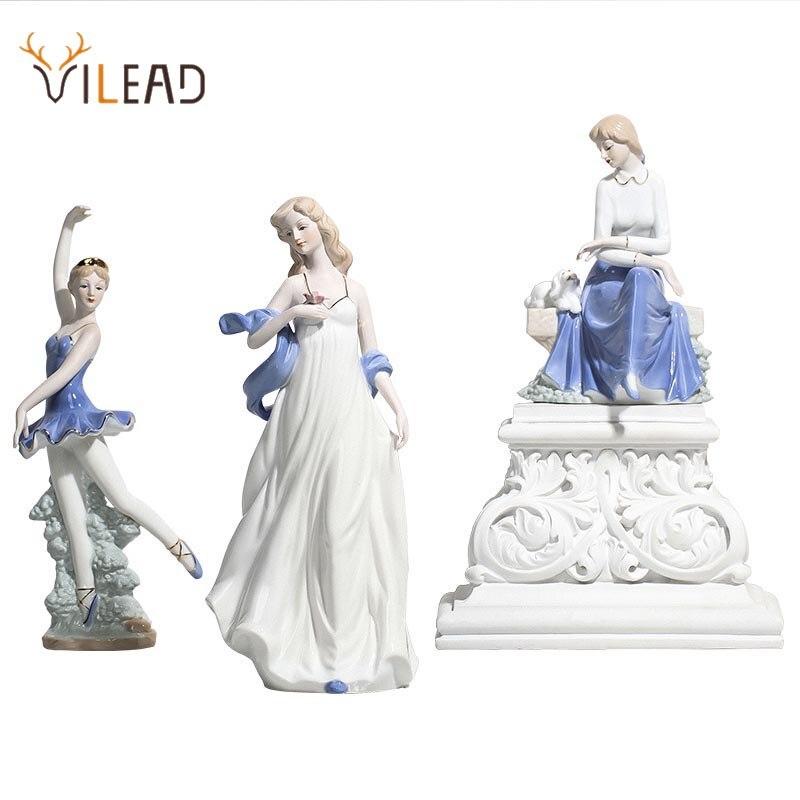 VILEAD Ceramic Ballet Girl Statue Figurines Fairy Garden Skirt Modern Beauty Sculpture Wedding Decoration Interior Home Decor