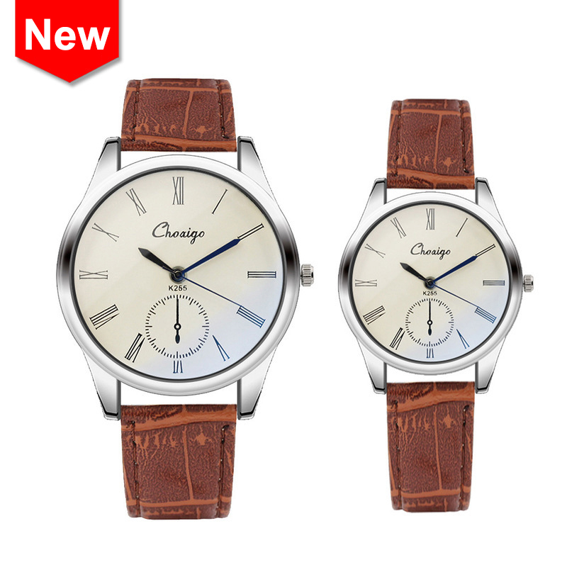 New Blue Pointer Lover Watches Luxury High Gloss Glass Retro Roman Numerals Couple Watch Gift Men Women Leather WristWatch reloj