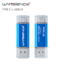 WANSENDA OTG Typ-C USB Flash Drive 512GB 256GB USB 3,0 Pen Drive 128GB Cle USB stick 64GB 32GB 16GB-Stick für Typ-C/PC