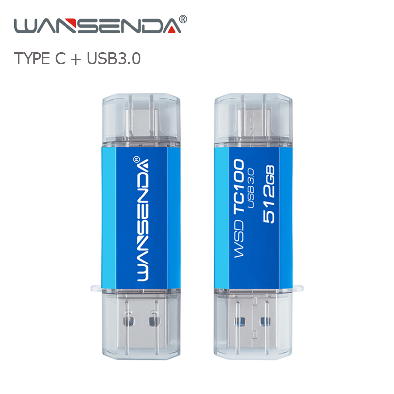 WANSENDA OTG Type-C USB Flash Drive 512GB 256GB Usb 3.0 Pen Drive 128GB Usb Stick 64GB 32GB 16GB Pendrive For Type-C Devices/PC