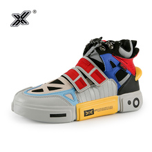 X Brand Men Sneakers 2019 High Quality Leather Oxford Breathable Flat Platform High top Fashion Colors Casual Men Shoes Traines