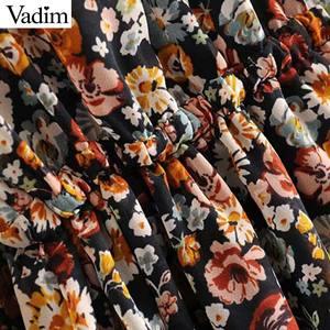 Image 3 - Vadim women retro chiffon floral pattern mini dress V neck bow tie sashes transparent long sleeve female casual dresses QD155