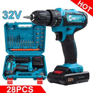 Electric Drill Cordless Drill 32V 2 Speed 3 IN1 Electric Screwdriver Hammer Power Driver with 1 Lithium-Ion Battery Power Tool