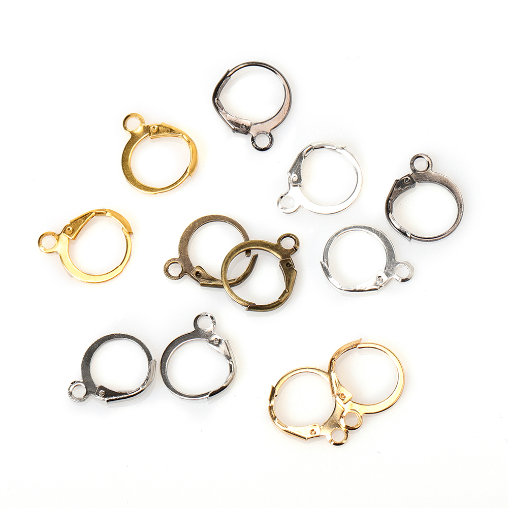 50pcs 13x15mm Gold Silver French Charm Earring Hook Earwire Earrings Fitting Ear Setting Base For DIY Jewelry Making Accessories