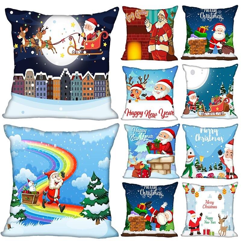 Custom Decorative Pillowcase Christmas Santa Claus 02 Square Zippered Pillow Cover 35X35,40x40,45x45cm(One Side)