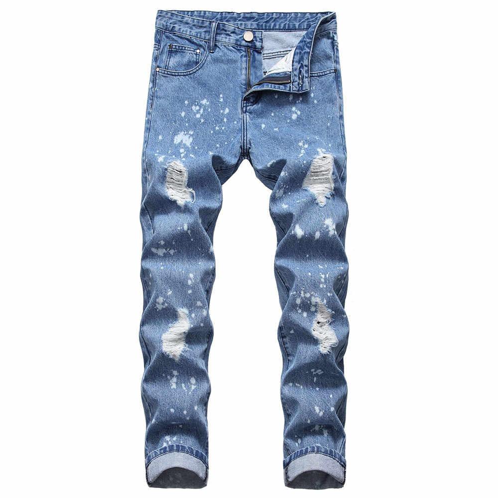 Jeans Men Ripped Denim Jeans For Men Straight Pantalones Hombre Jeans Para Hombre Blue Distressed White Dot Jeans Male Pants Jeans Aliexpress