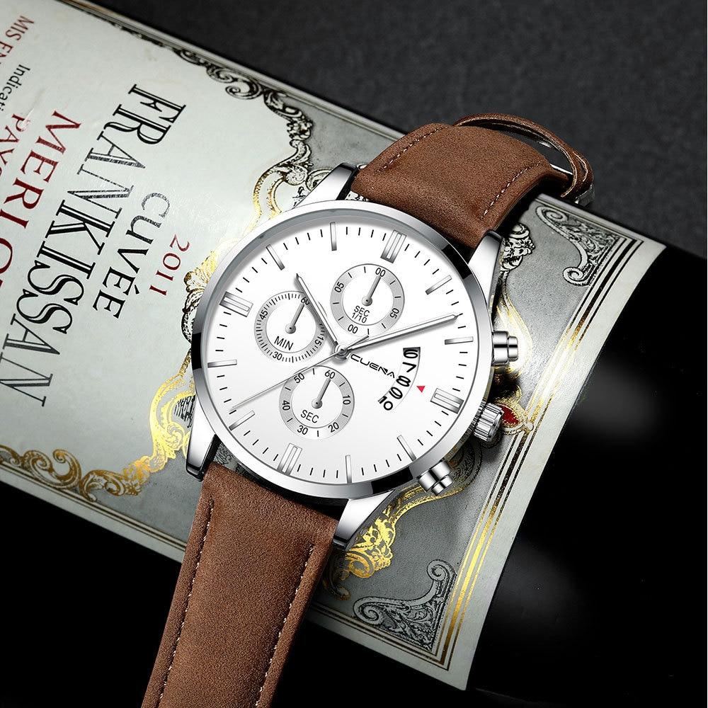2020 Watch Men Military Fashion Luxury Leather Strap Business Mens Clocks Calendar Quartz Wrist Watch Reloj Hombre Drop Shipping
