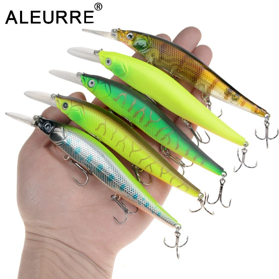 1pcs Plastic Minnow Fishing Lures Floating Rattles Bass CrankBait 11cm//15g