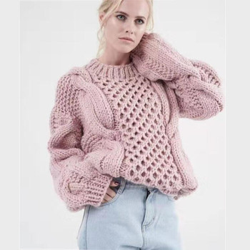 2020 new loose winter pullover sweater lantern sleeve fashion clothing women winter sweater O-neck lady European Pullover lantern sleeve plain pullover sweater