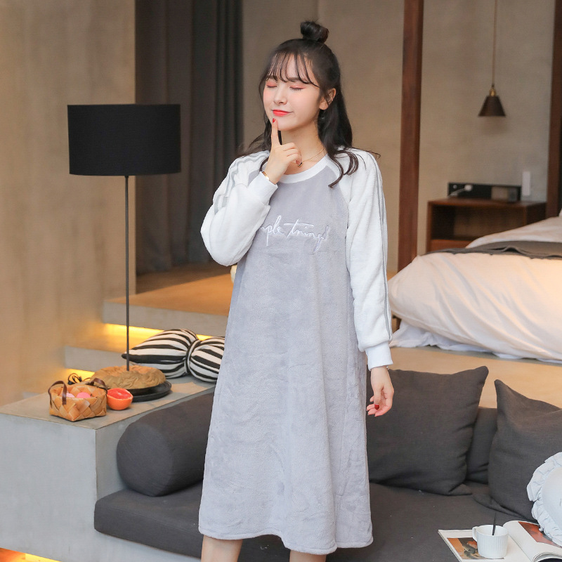 Coral Velvet Nightgown Spring, Autumn And Winter Long Cute GIRL'S Flannel Medium-length Dress Korean-style Students Warm Tracksu