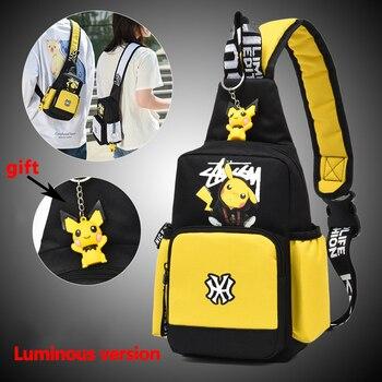 Men Women Go Pokemon Shoulder Bag Sling Chest Pack Canvas Sports Pikachu Teens Crossbody Handbags Men Chest Bags Belt Waist Pack