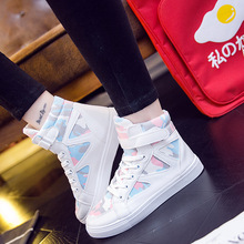 QWEDF High Top Sneakers PU Shoes Women Casual