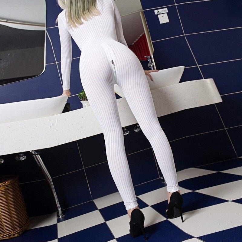 2020 XS-8XL Women Black Striped Sheer Bodysuit Smooth Fiber 2 Zipper Long Sleeve Jumpsuit 7