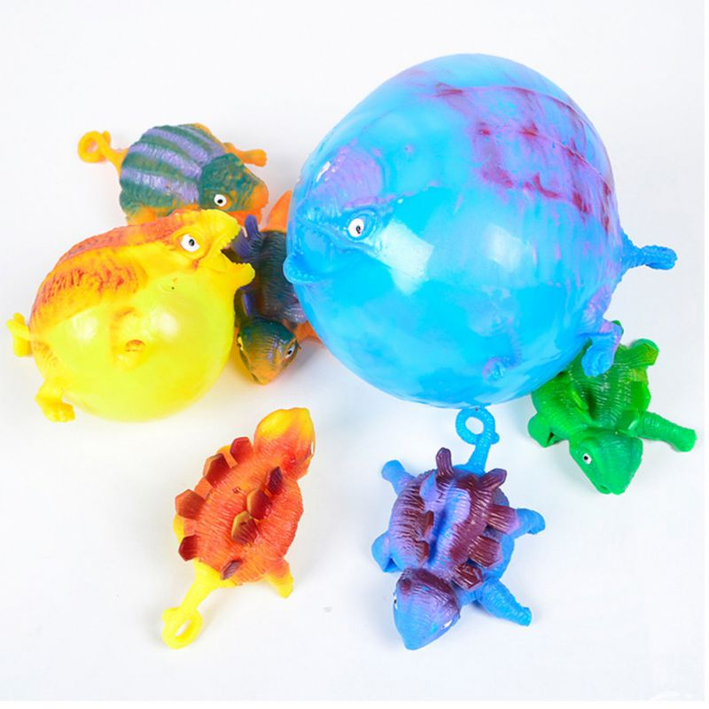 Funny Kids Toy TPR Material Anxiety Stress Relief Children Blowing Random Animals Toys Dinosaur Inflatable Balloon Squeeze Ball