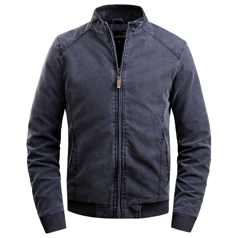 Jackets-Stand Collar Jaket Men Long-Sleeve Autumn Winter Solid-Color Casual Cotton Mens