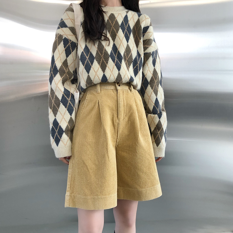 Knee Length Warm Wide Leg Shorts Women Autumn Winter Casual High Waist Loose Five Points Loose Trousers Fall Shorts Street Wear